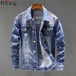 HCXY 2020 Spring Autumn Fashion Men's Denim Jackets Coats Men cotton Jacket Mens Jean Jacket Outwear Male Cowboy Size 5XL