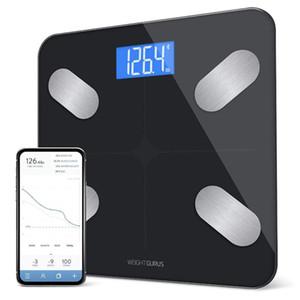 Vetro temprato Bilancia da bagno Bluetooth Digital Body Fat Scala, composizione corporea Monitor e Smart Bathroom Scale D30