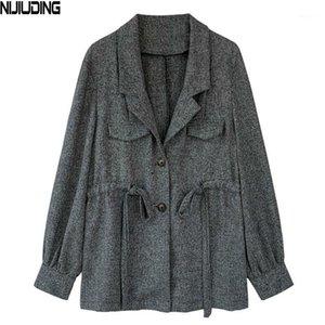 Nijiuding Pequeño traje chaqueta femenino cintura delgada delgado convencional casual traje chaqueta abrigo de cintura suelta Cárdigan Outerwear Blazers1