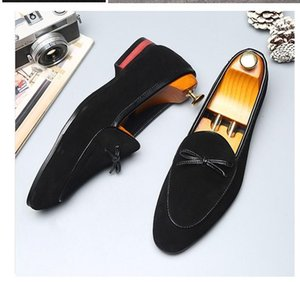 European Summer Mens Pointed Toe Dress Shoes Plus Size Slip On Suede Shoes Loafers Office Men Zapatos Hombre Vestir
