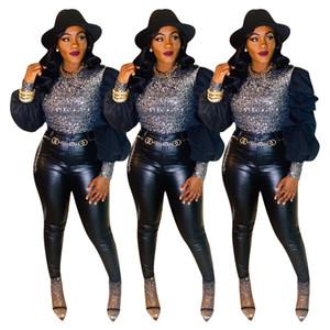Designer Designer Designer Casqua di lusso Fashion Maniche a maniche lunghe Sequins Sequins Autunno Top per donna Slim Tees