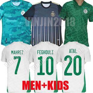 2020 2021 Cezayir Mahrez Uzakta Futbol Formaları Argelia 20 21 ATAL Feghouli Slimani Yeşil Siyah Erkekler Çocuklar Eğitim Futbol Gömlek oyuncu versiyonu