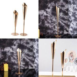 Edelstahl Kerzenständer Gold Farbe Hochzeit Mittelstücke Kerzenhalter Große Kleine Größe Ornament Candlesticks Neue Ankunft 26HX2 L1