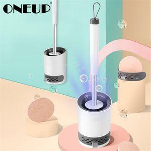 OneUP TPR Pincel Toiletno Casa de Parede Herable Nenhuma Alça Longa Morta Escova de Limpeza Acessórios de Banheiro Produtos de Limpeza 201214