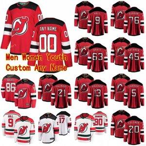 New Jersey Devils Jersey 18 Alexander Holtz 19 Dawson Mercer 27 Shakir Mukhamadullin 50 Corey Crawford Blanc Hockey Maillots personnalisé Cousu