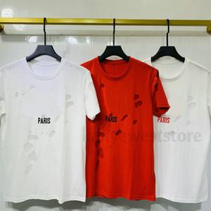 Nouvelle arrivée de luxe en Europe Paris Trous cassés t-shirt Deux couche de tissu T-shirt Homme Femme grande lettre T-shirt Designer Imprimer t-shirts en coton T
