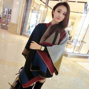 Vintage Boy Kadınlar Şal Moda Büyük Renk Bloğu Kaşmir Yün Eşarp Açık Kış Sıcak Cloak Pashmina DDA791