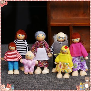 Family Dolls Kids Children Wooden DollHouse Toys Sets For Boys&Girls Happy Family Dressed Characters Playing Doll Pretend Toys 201021