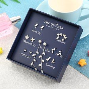 S925 silver needle one week earring set for women