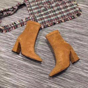 Inverno Ladies além de veludo para manter aquecido cor nova pontas do dedo do pé meados tubo trecho deserto pretas grossas botas meias de moda com solado de salto alto
