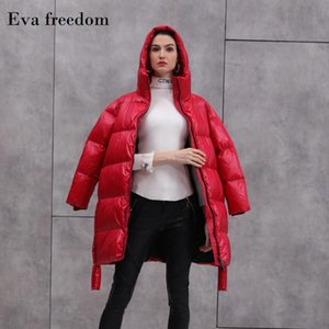 2020 Winter new stylish down coat hooded women side slit long thick warm 95% white duck down women jacket hooded AC1058