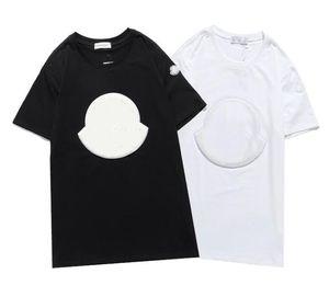 2021 novo luxur bordado t-shirt moda homens e mulheres design camisetas feminino tshirts alta qualidade preto e branco100% cottn frete grátis