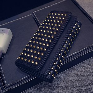 HOT New Fashion Women's Rivets Teen Girl Phone Pocket Purse Carteira Feminina Wallet Female