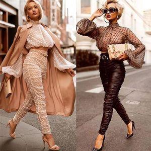 New Women See-through Sheer Mesh Polka Dot Puff Long Sleeve T-shirt Tops