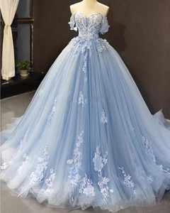 Charming Sky Blue Prom Dresses Off the Shoulder Lace Applqiue Long Evening Dress Custom Made robes de soirée 2020
