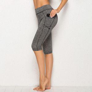 Kadınlar Yoga Pantolon Yeni Gelen Kadın Dikiş Spor Yüksek Bel Diz boyu Yoga Pantolon Günlük Stil Pant Feminina Cepler