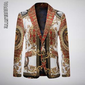 Fashion-VAGUELETTE Luxury GoldenBlack Stage куртка для мужчин Цветочной Printed синего блейзера для мужчин Slim Fit партии Свадебной куртки пальто T200324