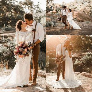 2020 Romantic Scoop Neck Long Sleeve Mermaid Wedding Dresses Lace Open Back Sweep Train Boho Beach Bridal Wedding Gowns