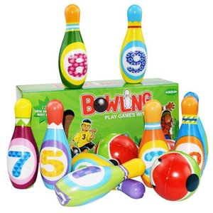 1 Set Bowling Pins And Balls Fun Safe PU Educational Toy For Kids Toddlers Children Outdoor Or Indoor Toy Sports