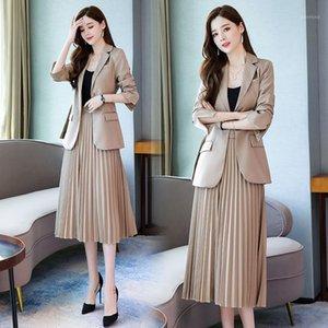 Офисная Униформа Костюм костюм женская плиссированная юбка и куртка набор блазера юбка набор с женщинами Skirtand Took1