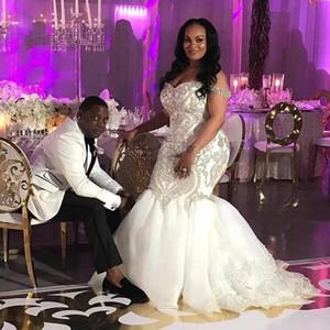 Major Beading Mermaid Wedding Dresses Off Shoulder Sweep Train Crystal Appliques Plus Size Garden Bridal Gowns vestidos de novia Custom