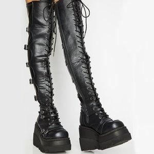 Marka Tasarım Büyük Boy 43 Shoelaces Cosplay Motosiklet Boots Toka Platform Wedges Yüksek Topuklar Uyluk Yüksek Boots Kadın Ayakkabı 1026