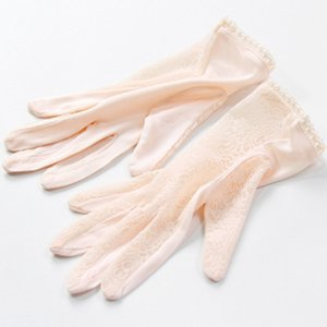 Elegant ladies high quality 100 silk knit gloves summer anti-UV thin section breathable sleep moisturizing Lace gloves K5 201021