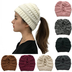 Winter Messy Bun High Beanie Outdoor Warm Ski Hat 8 Styles Cable Knitted Criss Cross Hat Soft Stretch Ponytail Cap for Women Kimter-L754FA
