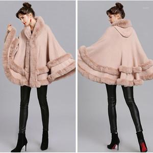 Double Layer Luxury Rex Fur Cape Coat Hooded Shawl Winter Women Knit Cashmere Poncho Overcoat Faux Fur Overcoat Plus Size1