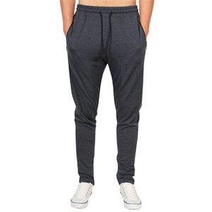 Mens Jogger Фитнес-спортивные штаны сплошной цвет кувыруемые повседневные карандаш штаны четыре сезона носить мужчины на молнии спортивные брюки
