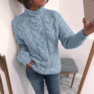 الشتاء المرأة Turtelneck الصلبة الدافئة النساء سميكة سترة السيدات عارضة Pollovers أنثى كم طويل البلوز # 2