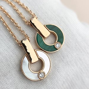 2021 Ring Diamond Necklace Fashion Natural Malachite Letter Pendant Lady Jewelry Couple Gift