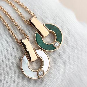 2021 Ring Diamond Necklace Fashion Natural Malachite Letter Pendant Lady Jewelry Couple Gift