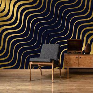 Custom Golden Wave Stripes Large Mural Wall Art Wallpaper Modern Luxury Living Room Sofa Bedroom TV Background 3D Wall Covering