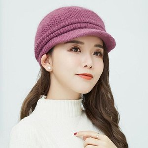 Winter Women Cap Warm Knitted Thicken Fur Wool Ladies Beret Hat Beanie Hat Visor Newsboy Cap for Women