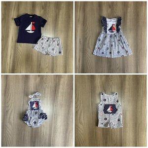 Girlymax лета младенца девушки парни одевают короткий набор темно-синий полоса ПАРУСНИК детская одежда бутик хлопка шелк молока длина колена X0923