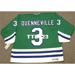 Hombres # 3 Joel Quenneville Hartford Whalers 1988 CCM Away Hockey Jersey o personalizado Cualquier nombre o número Jersey Retro