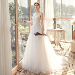 2021 New Lace Applicates Tule Wedding Dressed Robe Soiree Bride to Be*1087 Lace-up Robot Mari e HI9C