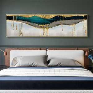 Abstract Green Shining Dold Canvas Painting Golden Pigment Poster Modern Wall Art Pictures for Living Room Blue Print Decoration Q1107