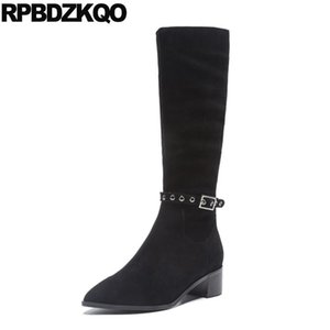 black casual pointed toe tall shoes fur block 10 11 genuine leather knee high chunky big size suede plus women boots winter 2020