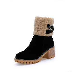 women thick fur warm platform boots high heels Snow boots waterproof ladies party dress shoes winter female size 34-43