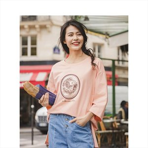 Autumn New Arrival Cotton O neck Dropped Shoulder Three Quarter Sleeve Fashion Patch Longer in the rear Hoodie
