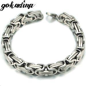 Gokadima New Product, Silver Color Stainless Steel bracelets Link Byzantine Chain Bracelet For MENS Jewelry Fashion Good quality