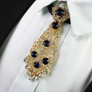 Free shipping New fashion Korean men's male man diamond metal tie groom wedding dress collar exclusive tie star Brooch set