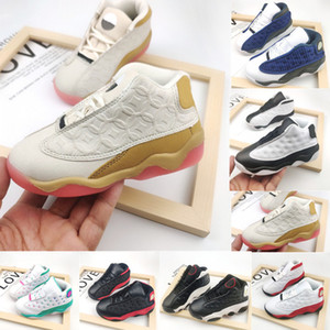 Green CNY Aurora TD 13S Kids Basketball Shoes Flint Toddler New Born Baby Reverse He Got Game Bred Small Big Boy Girl Sneakers