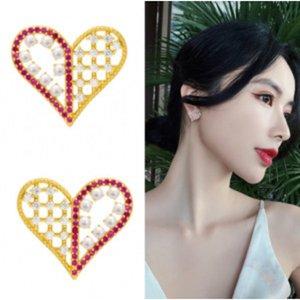 S925 silver needle Korean jewelry peach heart pearl pink diamond new temperament net red earring earrings wholesale custom