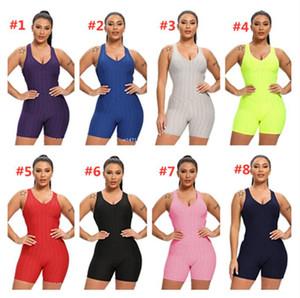 Kadınlar Kolsuz Bodysuit Jumpsuit Şort tulum Tek Parça Pantolon Seksi Backless tulumları Spor Salonu Yoga Spor Casual Giyim F92804