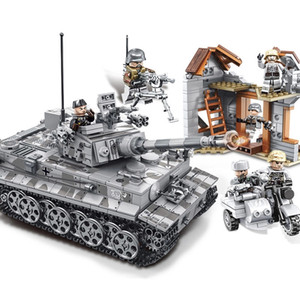 1154pcs WW2 German Tiger Tank Panzer IV Tank Military Army Solider Weapon Model Figures Bricks Toy Gift for Children 1008