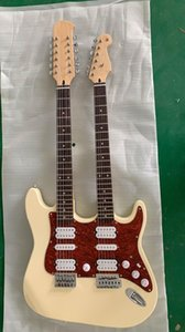 Custom wholesale double neck cream 6-string + 12-string electric guitar with customization