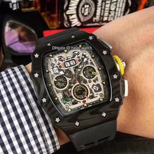 베스트 판 새로운 탄소 섬유 케이스 플라이 백 크로노 큰 날짜 RM11-03 맥라렌 F1 011 자동 남성 시계 고무 스트랩 시계 Hello_watch